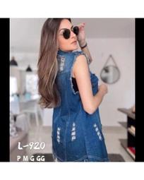 jeans colete Alisa Moda Feminina