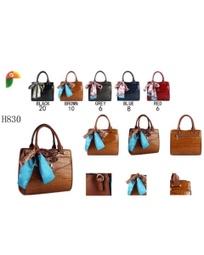 H830 kit bolsa de mão croco c/carteira e lenço