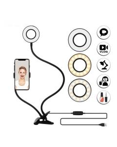 Ring Light de mesa 2 em 1 com suporte de celular para maquiagem selfie live make abajur luminaria