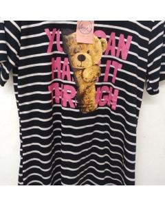 Blusa Plus Size Malha Viscolycra listrada com estampa silk urso