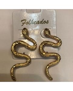 Brinco folheado serpente