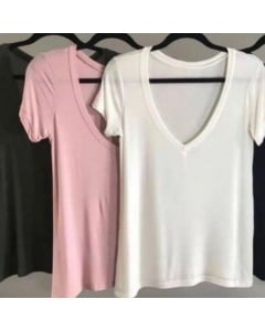 Camiseta gola v básica Bird & Co Feminino
