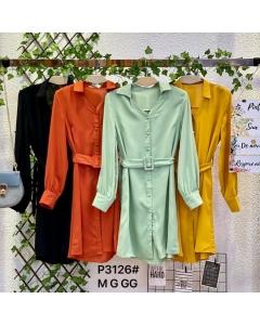 Vestido chemise curto liso p3126