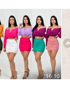 Short saias bengaline tamanhos pmg com cinto todas as cores disponíveis
