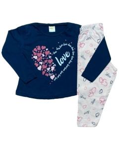 Kit 5 Pijama Camiseta Manga Longa Calça Inverno Menina Kids