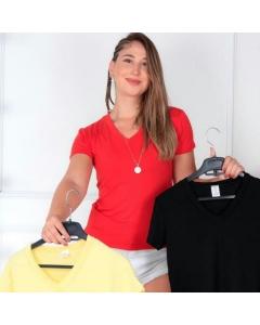 Camisa Feminina Gola V Baby Look