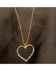 Colar pingente coração com strass folheado a ouro