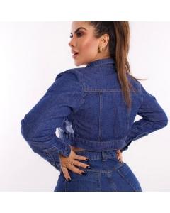 Jaqueta cropped Estrela  jeans
