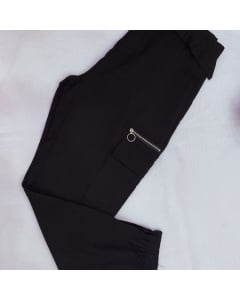 calça jogger #Q1159# feminina modelo cargo de poliéster, com cintos Golden Tulip
