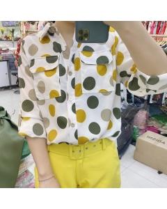Camisa manga longa de poá #1152 Golden Tulip