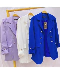 Blazer feminina alongada#09# alfaiataria com 6 botões e manga pode vila 3/4 Golden Tulip