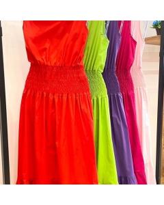 Vestido longo tricoline lastex na cintura feminina moda importado