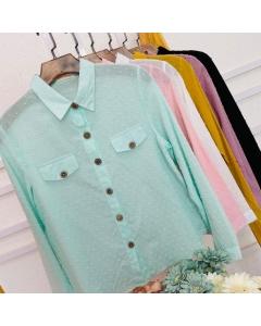 Camisa botão pique feminina manga longo