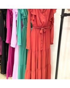 Vestido Chiffom longe feminina manga longa moda importado
