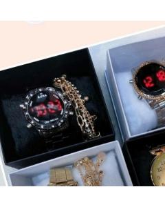Kit relógio digital feminino