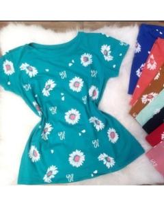 Blusa T-shirt Viscolycra estampas moda verão Lili moda Feminina
