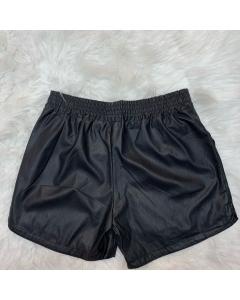 Shorts couro fake/elástico  na cintura/Lorena moda