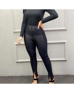 Calça Cirrê Zíper Frontal e Pé Moda Gringa