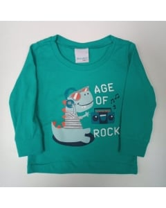 Camiseta Infantil Manga Longa Masculina Malwee Kids P ao G Dinossauro Verde