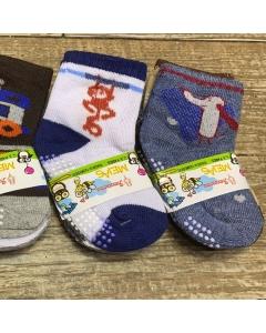 12 pares meias de bebê com antiderrapantes de 6 a 12 meses