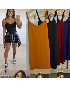 Vestido regata canelado Mirela Modas Online