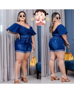 Conjunto Plus Size Shorts e Croped C/ Lycra  46 ao 54  Morena Bella Oficiall