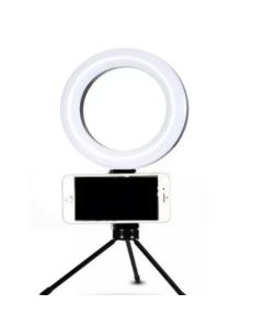 """RING LIGHT 6"""" com tripé de mesa e suporte de celular"""