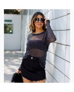 Blusa Tule Lurex tamanho M e G  @outletval_modasevariedades