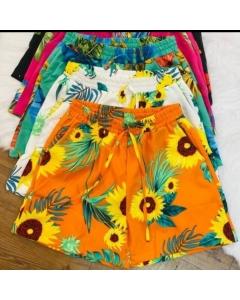 Short estampado flor/panpan fashion feminina