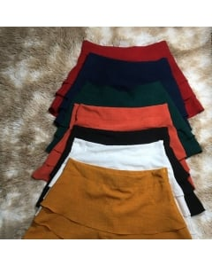 Moda Short saia de linho zíper lateral