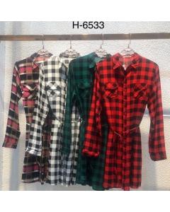 Blusa Camisa Feminina Xadrez viscose Manga Longa - H6533 Sister Fashion