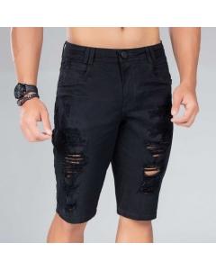 Bermuda Jeans masculino preto Rasgada