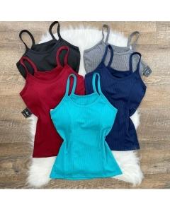Blusas de tecido canelado com bojo disponível em várias cores vest