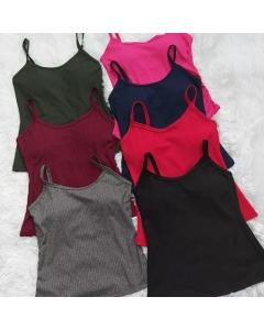 Blusa de tecido canelado com bojo disponível em várias cores